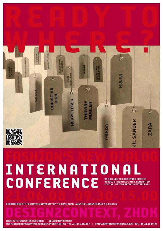 """READY TO WHERE ? FASHION'S NEW DIALOG """"International Conference Zürich"""""""